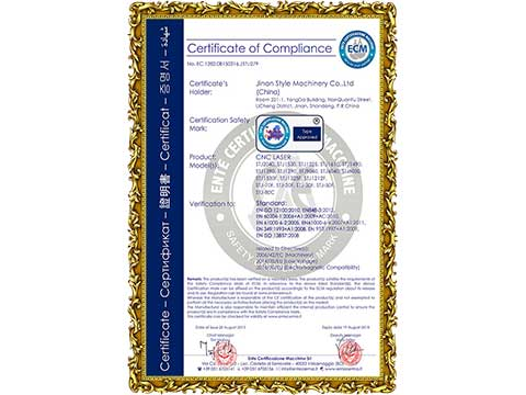 CE Certificate for CNC Laser