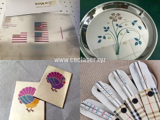 Samples of the color fiber laser marking and engraving machine