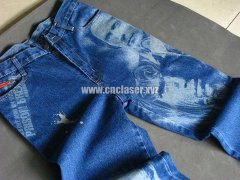 STYLECNC® Laser marking machine in denim fabric