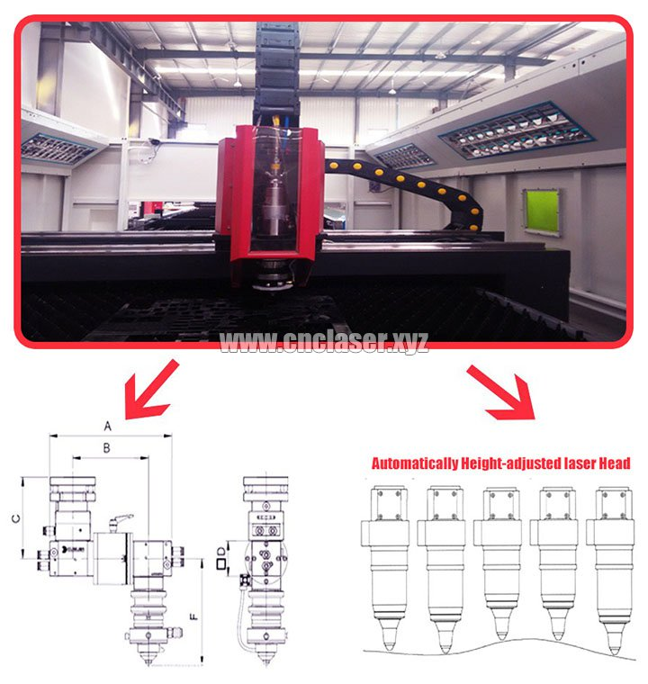 Laser cutting head of High power laser cutting machine for metal with IPG fiber lasers